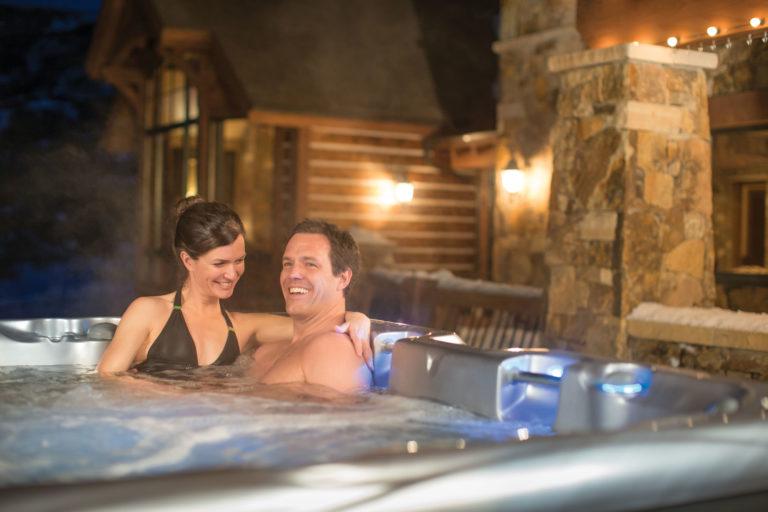 Cameo hot tub at night.