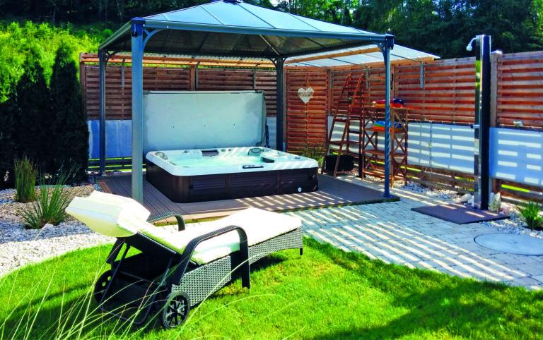Outdoor hot tub installation.